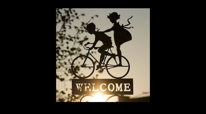 Welcome bike sign on Black